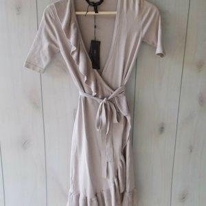BCBG Florentine Wrap Ruffle Sweater Dress